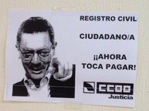 Cartel en el Registro Civil de Alicante